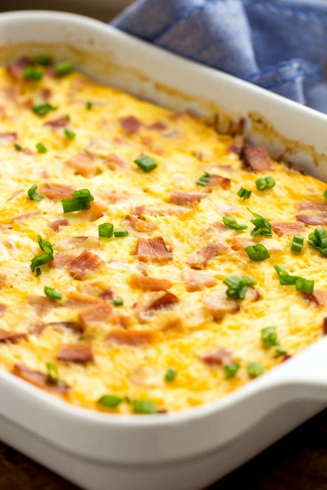 Best Breakfast Casserole (ham, 12 eggs, 2 c half and half, cheddar and jack cheeses & hash browns.