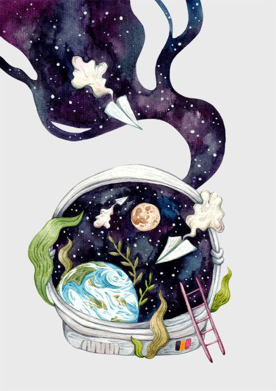 To the moon... Olga Svart Illustration