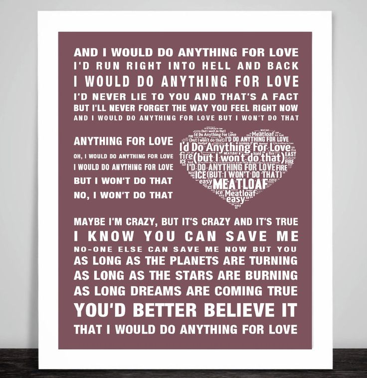 Meatloaf I Would Do Anything For Love Music Song Lyric Word Art Print Poster