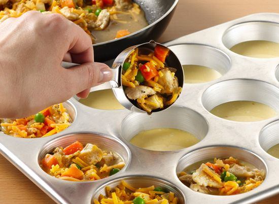 mini pot pie recipes with Bisquick  1/2 c. milk, 1/2 c. bisquick, 2 eggs start with Bisquick mix. This makes the base for all mini pies.  Combine and start with a little less than at tablespoon in each greased muffin cup. Next add your filling. Cheeseburger, pepperoni pizza, BLT –whatever you can imagine. Add about ¼ cup of the mixture to each cup.Finally, top it off with one more tablespoon of the Bisquick mixture. Bake for 25-30 minutes then pop them out of the pan. They can be frozen!
