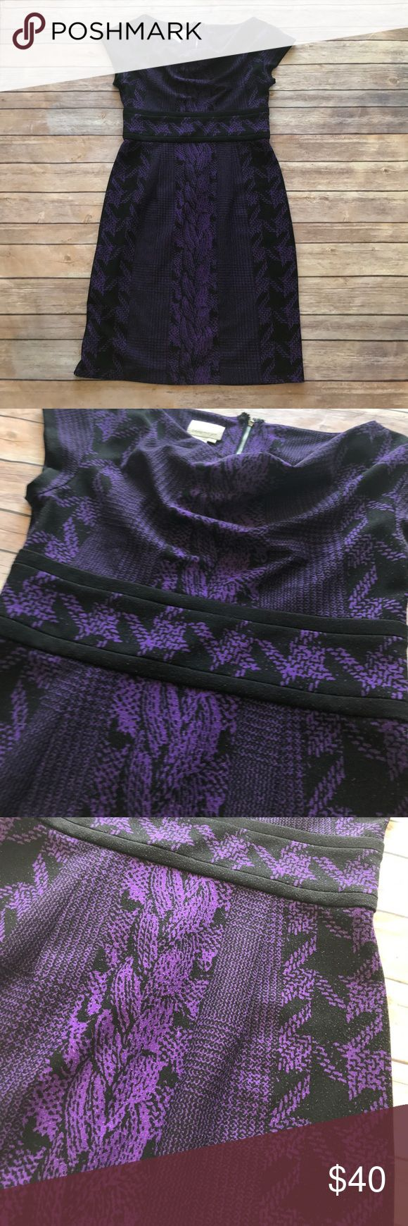 Donna Morgan - Purple and Black Dress. Donna Morgan - Purple and Black Dress. Houndstooth design waist features two lines. Exposed zipper back. MIDI style cowl neck dress. Donna Morgan Dresses Midi