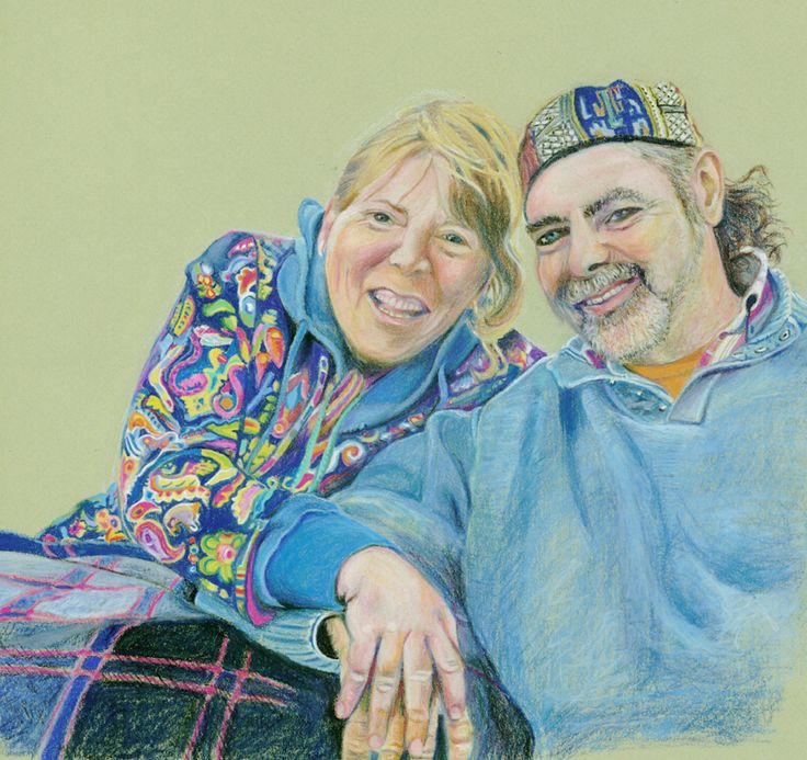 """""""My Friends"""" - done in Stabilo Carbothello chalk-pastels."""