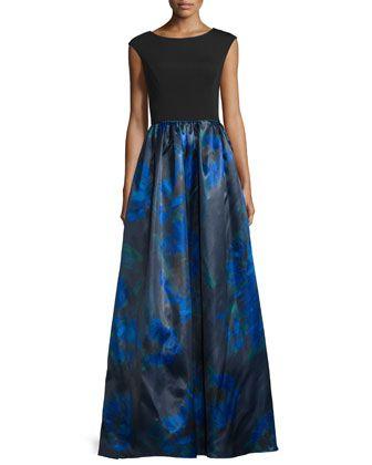 Cap-Sleeve+Printed-Skirt+Gown,+Neptune/Multi+by+Aidan+Mattox+at+Neiman+Marcus.