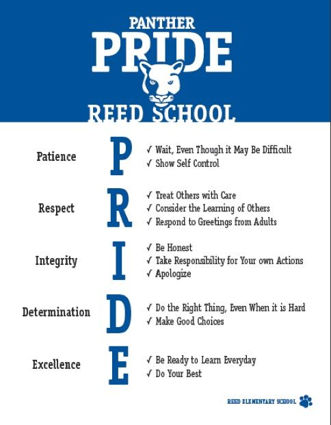 "Reed Elementary School participates in a school-wide positive behavior approach called ""Panther PRIDE."" This approach establishes the social..."