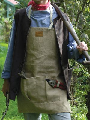Man Wearing Short Jute Gardening Apron Garden Clothing
