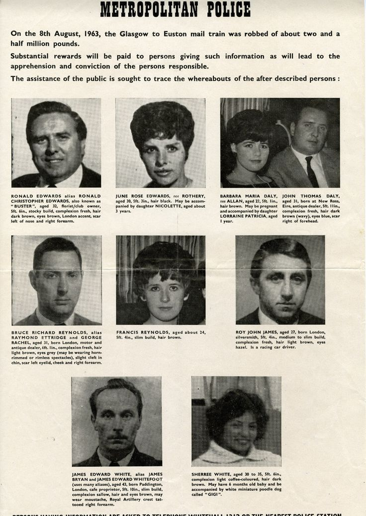 Wanted poster of the Great Train Robbery robbers and their associates. This was produced not long after the robbery and was widely distributed. (POST 120/95)