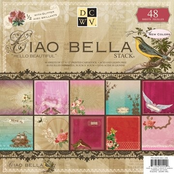 "DCWV Ciao Bella Designer Paper Stack with glitter 12""x12"" - 48 sheets"
