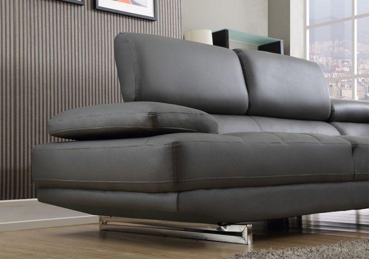 Milano Stylist Modern Grey Leather Corner Sofa Right/Hand #cornersofa