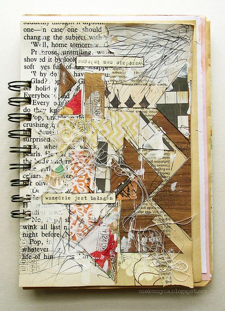 bałagan - art journal page by czekoczyna http://czekoczyna.blogspot.com/ http://www.flickr.com/photos/czeko/sets/72157625971081959/with/6369083613/ #mixed_media #collage