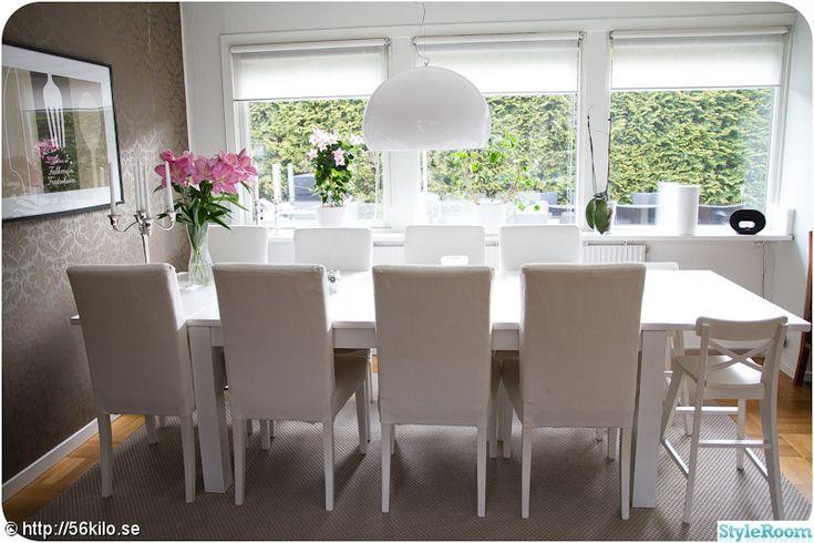 vitt bord,ommålat bord,kartell fl/y taklampa,vit matsalsgrupp