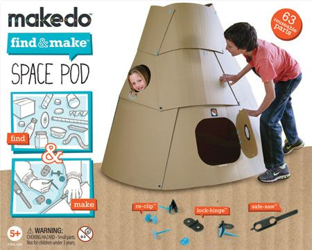 Makedo Find & Make Space Pod: Create, destroy and make a different one! Comes with clips, pins and hinges to be used with household packaging like boxes, coffee cups, plastic containers and fabric foam. #Toys #Building_Toys
