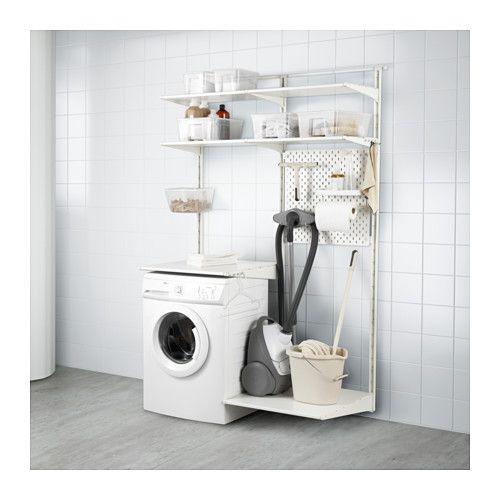 IKEA - ALGOT / SKÅDIS, Guida da parete/ripiani, Gli elementi della serie ALGOT si possono combinare in molti modi diversi, così puoi adattare la tua soluzione alle tue esigenze e al tuo spazio.Le guide da parete sono la base del sistema ALGOT. Crea la tua combinazione fissando con un semplice clic le staffe ALGOT alle guide da parete, nella posizione in cui vuoi montare ripiani o accessori. Non servono attrezzi.Il pannello portaoggetti SKÅDIS si adatta perfettamente al sistema di sc...