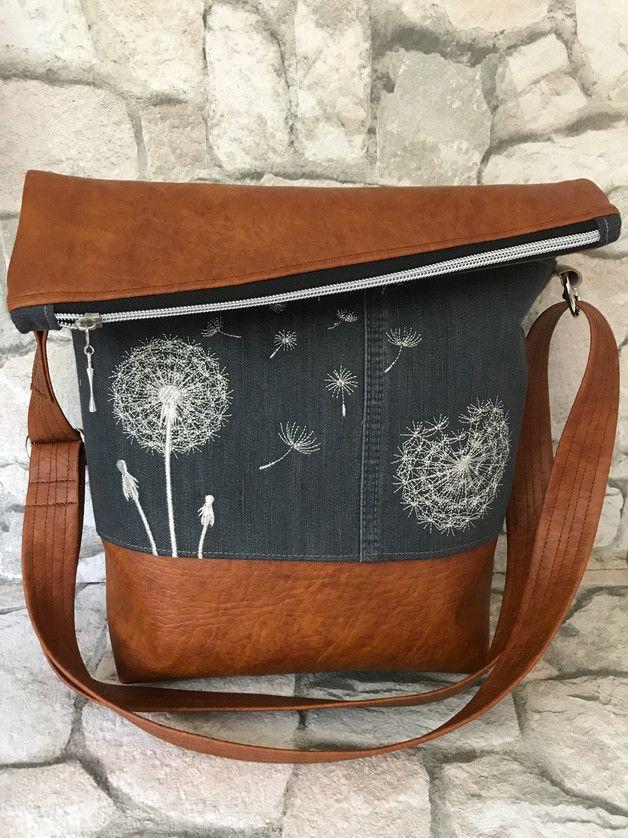Schultertaschen - FoldOver Tasche, Pusteblume, Jeans Upcycling! - ein Designerstück von Kleine-Wollbude bei DaWanda