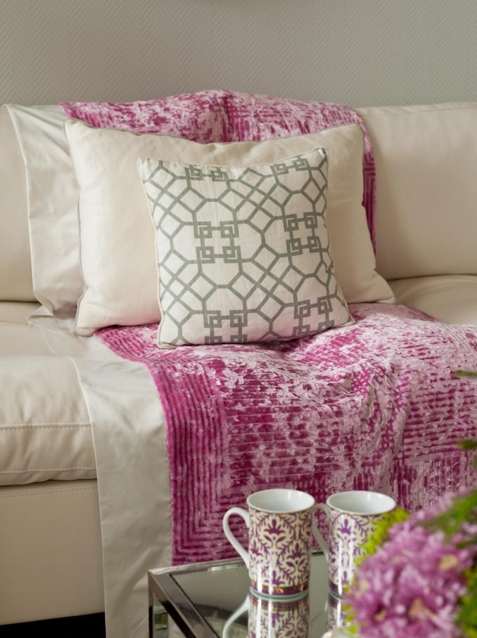 living room, white sofa, pink designer's guild velvet, geometric pillow