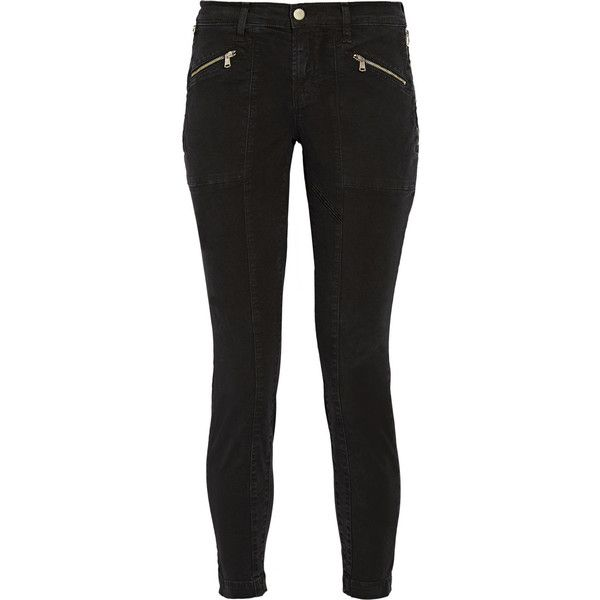 J Brand Genesis stretch-cotton twill skinny pants ($325) ❤ liked on Polyvore featuring pants, black, skinny fit pants, super skinny pants, slim pants, j brand and skinny trousers