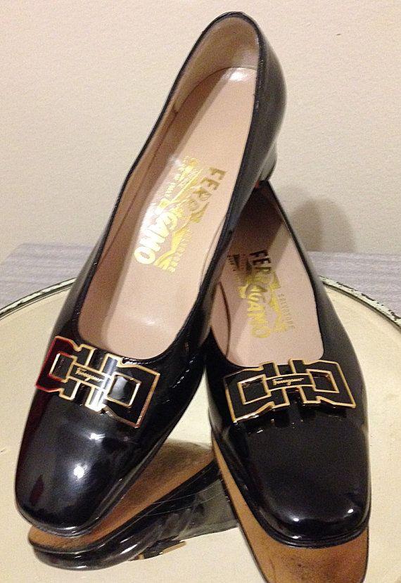 Salvatore Ferragamo Black Patent Leather Kitten Heels by LyndiLane