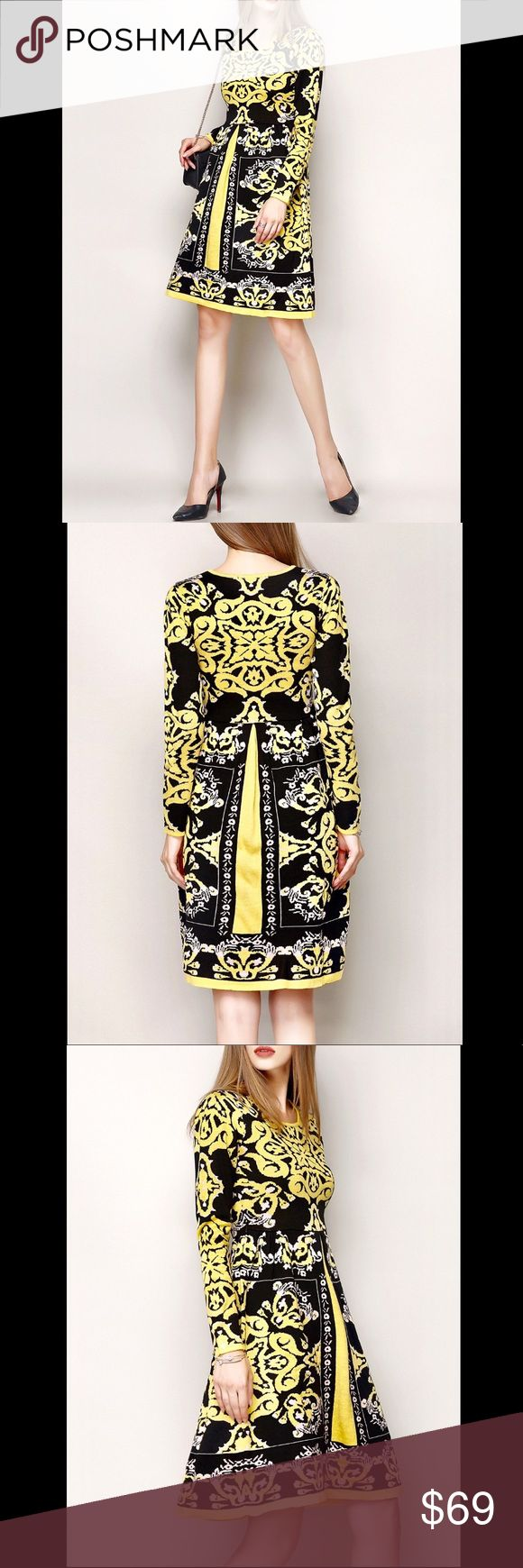 NEXIIA Tribal Print Sweater Dress Long-sleeved crewneck knitted jacquard A-line sweater dress with yellow, black, and pink tribal print made of comfort-stretch wool (30%) and viscose (70%). NEXIIA Dresses Long Sleeve