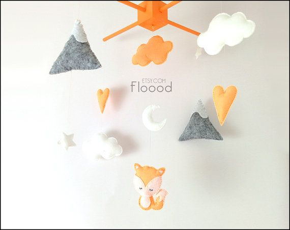 LOVE THIS! I wonder if we could make it? Fox Baby Mobile Modern Nursery Decor Hearts Baby Nursery by Floood