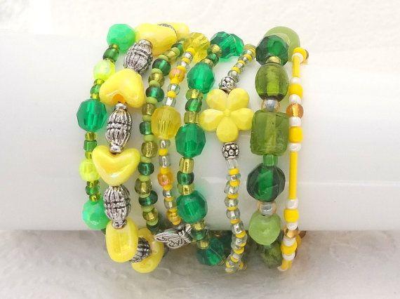 Boho Bracelet Set of 8 - Green  & Yellow - beaded bracelet set - handmade in New Zealand #7