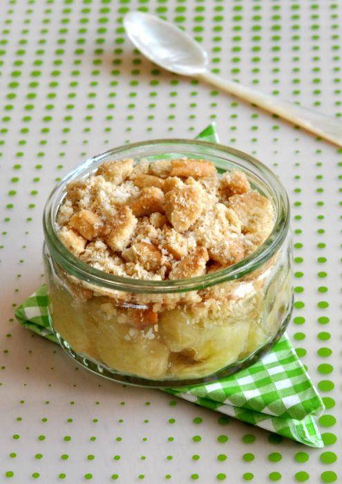 Faux crumble bananes rôties noix de coco, dessert minute