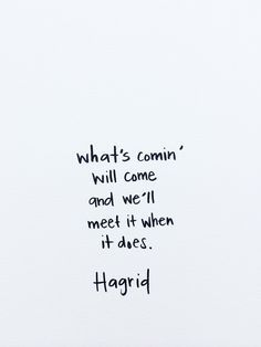 What's comin' will come and we'll meet it when it does. - Hagrid quote