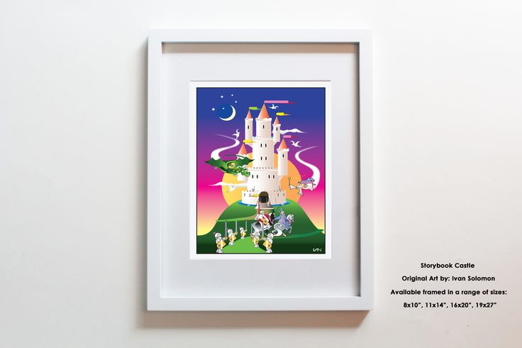 Our original Storybook Castle artwork will bring your imagination to life with classic fairytale elements including fairies, princesses, dragons, knights and a castle on a hill. The castle can be personalized with a name on the flag at the top :)