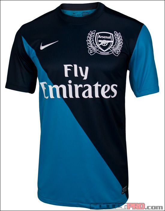The Arsenal 2011-12 away jersey looks cool in its half navy half sky blue design that reminds me of a jockey's uniform...$71.99