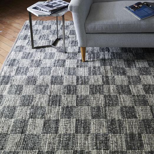 Checkerboard Flatweave Wool Rug   Natural Gray | West Elm
