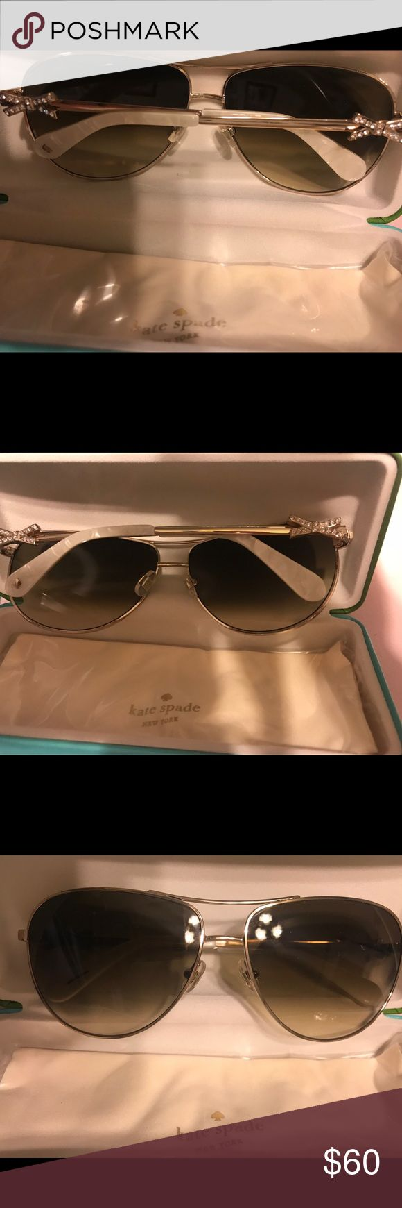 Kate Spade Sunglasses ♠️ ♠️ Kate Spade frame gold frame, white temple covers, & brown lenses. Frame  name is Circe2s  eye size 59 bridge 13 temple 130 brand new !!! kate spade Accessories Sunglasses