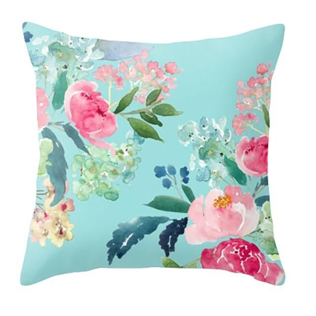 12X12 Inch Floral Digital Print Cushion Cover Pink Bedroom Square Pillow Case