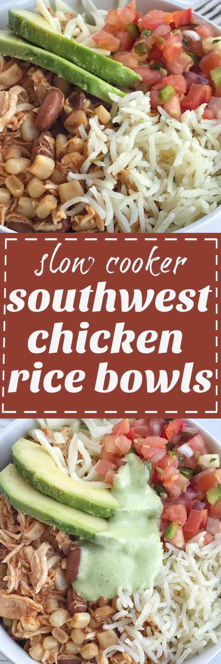 Southwest chicken is made in the slow cooker with only 5 ingredients plus seasonings. Create your own rice bowl with cilantro lime rice topped with southwest chicken, and loaded with all your favorite toppings! These are so delicious and definitely a family approved dinner.