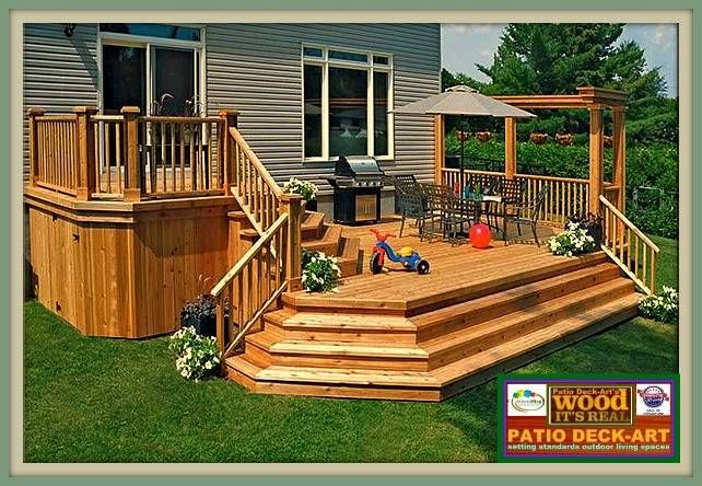 Patio 2 niv en bois pin dedsign et modele design de for Plan de patio exterieur en bois