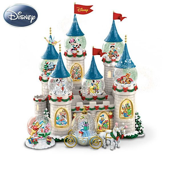 "Disney's Christmas At The Castle Snowglobe Collection /  8 miniature snowglobes with Disney characters and illuminated castle display that plays 8 songs. Editions limited to 120 crafting days. Snowglobes measure 2-1/2"" H to 4"" H; Full display stands 11-1/2"" H"