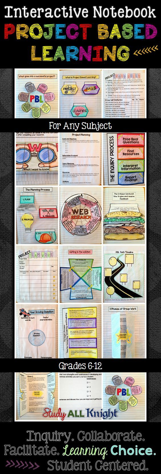 Project Based Learning Interactive Notebook For Any Subject