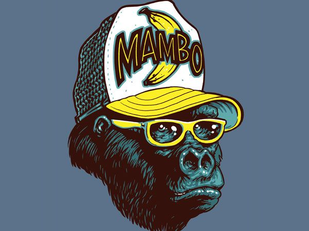 Going Bananas! Hipster Gorilla wearing a Mambo surf brand Cap for a range of Kids T shirts by (you guessed it) Mambo.