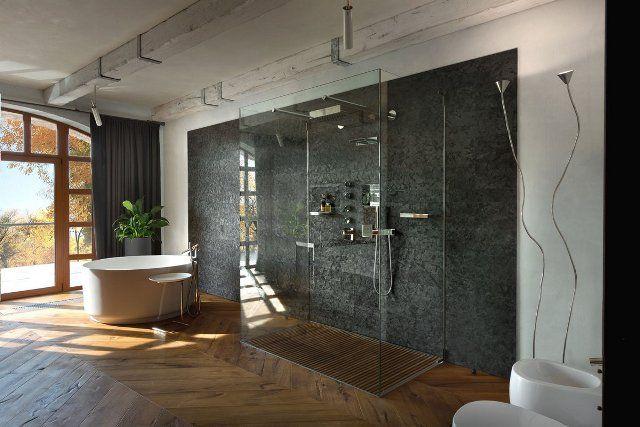 Residence BO, пригород Киева, в тосканском стиле, каменный фасад, элементы интерьера и декора, балки, потолки, ванная