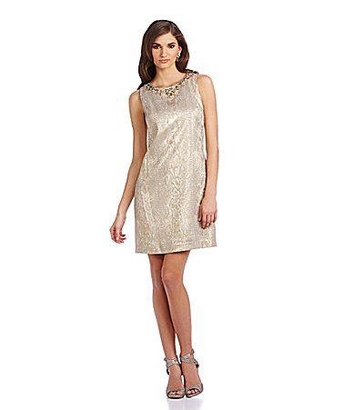 Same dress but in euro. 50 euro. Vince Camuto Beaded Metallic Jacquard Shift Dress #Dillards http://www.dillards.com/product/Vince-Camuto-Beaded-Metallic-Jacquard-Shift-Dress_301_-1_301_504975842?df=04354569_zi_gold&categoryId=604007&cm_mmc=Linkshare-_-J84DHJLQkR4-_-null-_-null&linkshare=http://www.shopstyle.com/affiliate