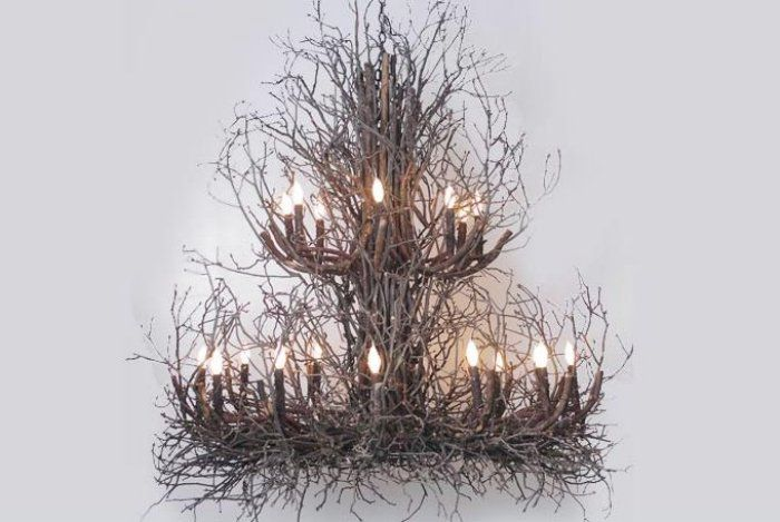 Two Tier Natural Light Twig Chandelier