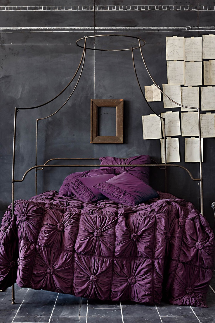 Black and purple bed sheets - Texture Colour And The Wall Treatment Interesting Mix Of The Industrial Walls Bed Purple Beddingpurple