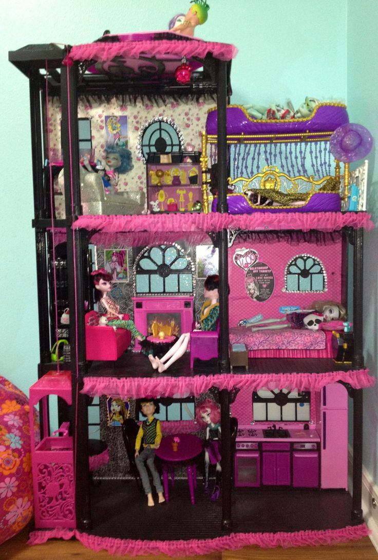 Monster High house! I turned my daughter's Barbie dream house into this. She asked for me to remove the bath  turn it into an extra room.