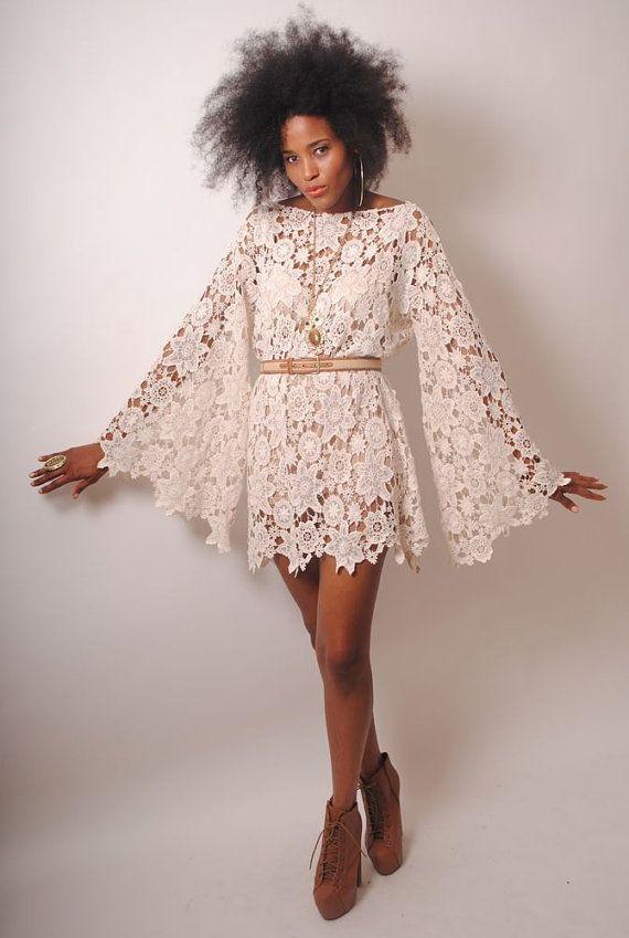 BELL SLEEVE vintage-inspired 70s style ivory LACE crochet hippie mini dress. Boho Bohemian Hippy Wedding Dress. Handmade