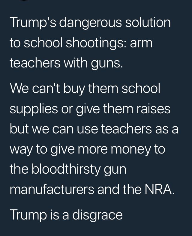 And what will happen when the first teacher shoots the wrong student?! Or the police arrive and shoot the teacher who has the gun and therefore looks like a shooter? Idiots.