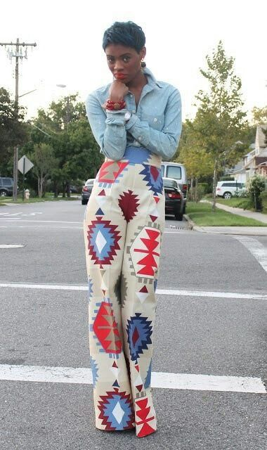 Funky pants using Native American prints