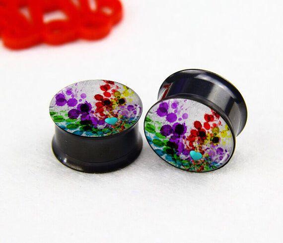 Pairs  Color paint    ear   plugs , women/men  ear plugs,Black  Titanium ear plugs, screw on ear plugs,0g,00g ,2g  plugs gauges, by earplugsworld on Etsy https://www.etsy.com/listing/206481640/pairs-color-paint-ear-plugs-womenmen-ear