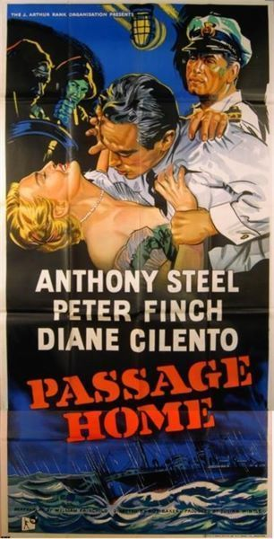 PASSAGE HOME 1955 Peter Finch Anthony Steel Diane Cilento UK 3-SHEET POSTER