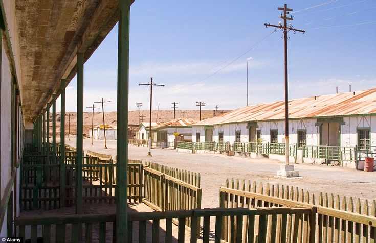Ghost town: Established in 1862, Humberstone in northern Chile was the epicentre of saltpeter, or sodium nitrate, mining. But by 1959 its plants and its workforce had gone