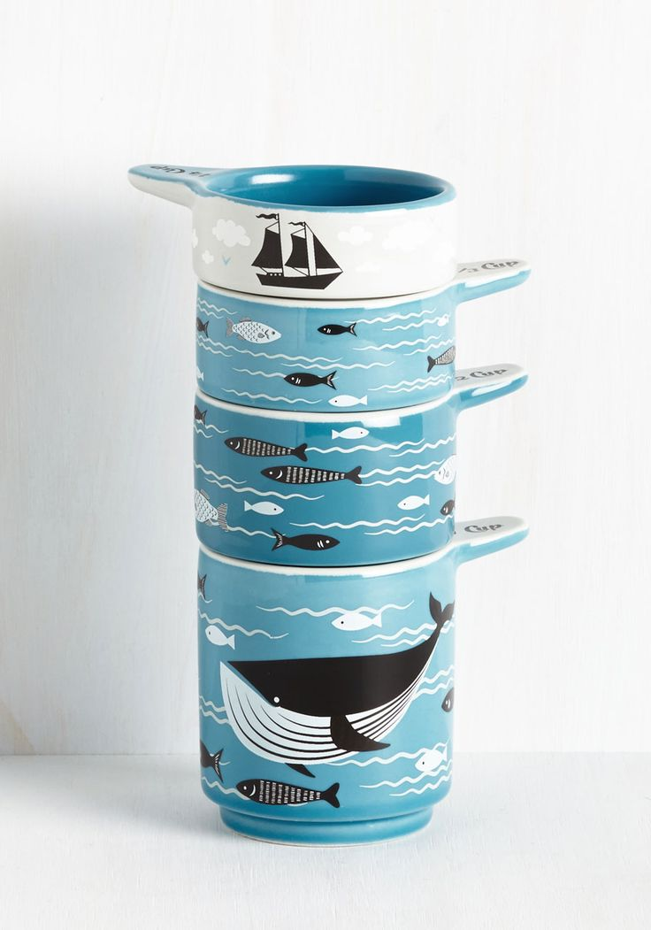 Swell Sea-soned Measuring Cups. Add a dash of splashing fun to your kitchen with these stackable measuring cups! #blue #modcloth