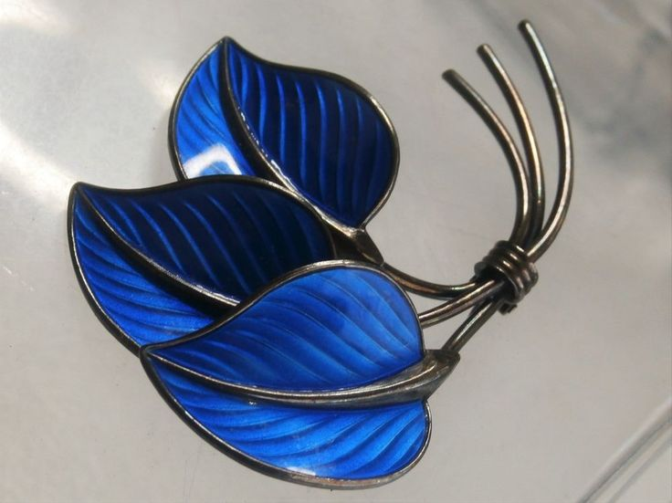 "Norway Hans Myhre 2.5"" Sterling Silver 925S Blue Enamel Three Leaves Brooch Pin #HansMyhre"