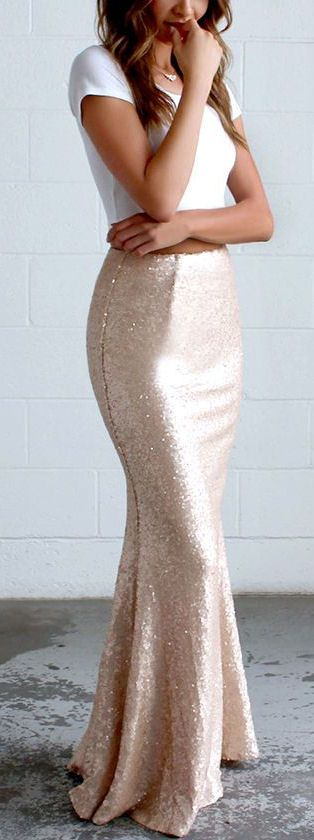 Blush Sequin Maxi Skirt ❤︎ I don't typically like mermaid style skirts/dresses, but this is too gorgeous not to pin!