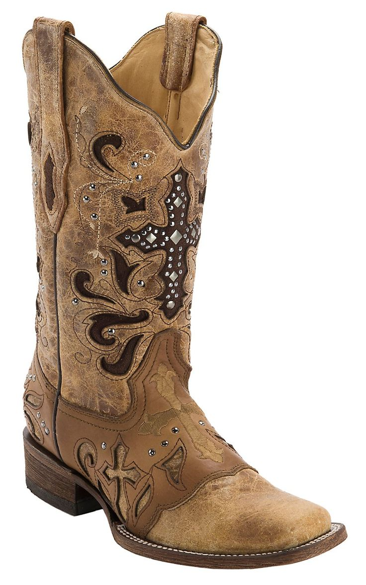 Corral Women's Antique Saddle with Stud Cross Square Toe Western Boot